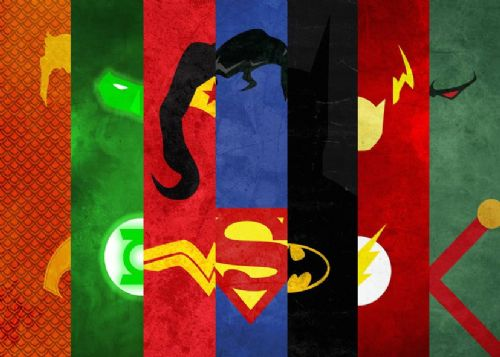 JUSTICE LEAGUE AMERICA - MINIMAL STRIPS canvas print - self adhesive poster - photo print